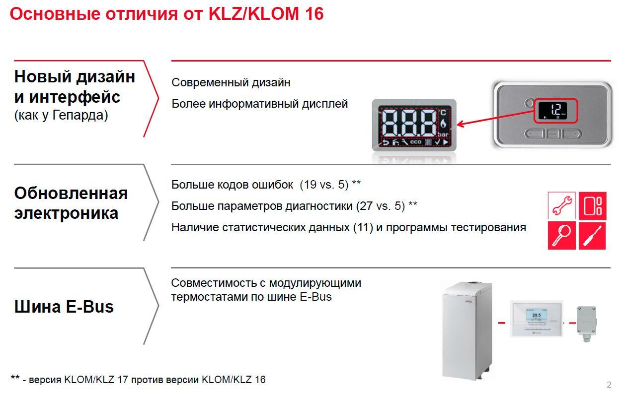 Основные отличия Protherm KLOM/KLZ V16 от V17