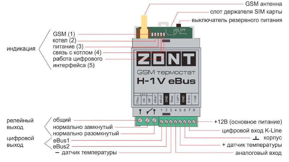 Назначение контактов Zont H-1V eBus